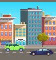 city street with busy traffic cars on road vector image