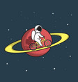 cute astronaut rides on bicycle at the saturn vector image vector image