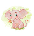 cute elephant with little flower vector image
