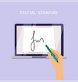 digital signature concept online contract on vector image