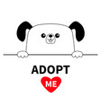 dog head face head hands paw holding line adopt vector image vector image