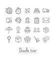 doodle logistics icons vector image
