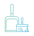 dustpan and hand broom in degraded green to blue vector image