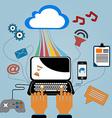 Flat design internet cloud vector image vector image