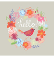 Floral Hello card vector image vector image