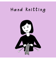 Girl doing hand knitting Black and white flat vector image vector image