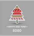 happy new year 2020 with christmas tree vector image vector image