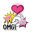 heart love with omg patch message vector image vector image
