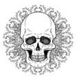 human skull and lotus over mandala inspired sacred vector image vector image