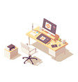 isometric graphic designer workplace vector image vector image