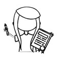 line girl with notebook and hairstyle design vector image