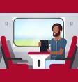 man train passenger listening audio book with vector image