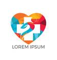 medical cross heart shape logo design vector image