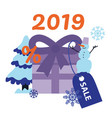 new 2019 year holiday sale banner with big present vector image