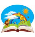 open book wild animals vector image
