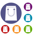 paper bag icons set vector image vector image