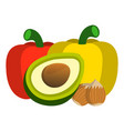 pepper avocado hazelnut icon food label logo for vector image