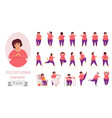 plus size woman poses set with cartoon cute fat vector image vector image