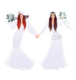 queer wedding couple newly married lesbian vector image vector image