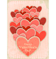 Retro Valentines Day Card with Hearts vector image vector image