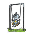 robot child play on swing color sketch engraving vector image vector image