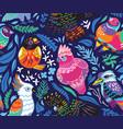 seamless pattern with exotic australian birds