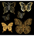 set golden butterflies vector image vector image