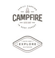 set of camp logo with campfire explore wilderness vector image vector image