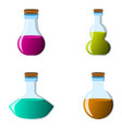 set of flask and bottle icon label of fantasy vector image