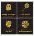 Set of Halloween gold textured icons vector image vector image