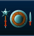 set of items for game shield mace and knife vector image