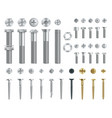 set steel screws bolts nuts and rivets top vector image