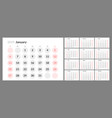 the calendar for the 2019 new year printable vector image vector image
