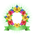 Tropical flowers wreath frame vector image