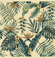 tropical leaves and gold flowers seamless beige vector image vector image