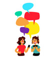 two pranayas with comic bubbles are debated men vector image vector image
