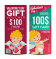 valentine s day voucher template vertical vector image vector image