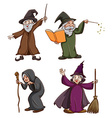 Witch and wizard vector image vector image
