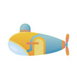 yellow and blue submarine undersea cartoon style vector image vector image