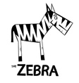 Zebra Cartoon - Black and White Zebra Symbol vector image vector image