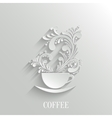 Abstract 3d Cup of Coffee with Floral Aroma vector image