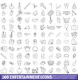 100 entertainment icons set outline style vector image vector image