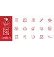 15 notebook icons vector image vector image