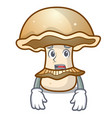 afraid portobello mushroom mascot cartoon vector image vector image