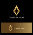 arrow triangle technology gold logo vector image