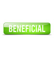 beneficial green square 3d realistic isolated web vector image vector image