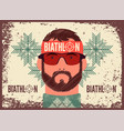 biathlon typographical vintage grunge poster vector image vector image