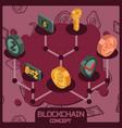 blockchain isometric concept vector image vector image