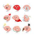 brain cartoon characters making sport exercises vector image vector image