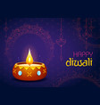 burning diya on happy diwali holiday background vector image vector image